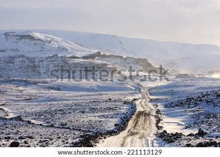 Winter road in West Iceland/Winter road - stock photo