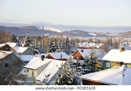 Winter roofs - stock photo