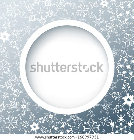 Winter round frame with snowflakes. Gray background with white ornate snowflakes. New Year and Christmas celebratory card with place for text. Raster version - stock photo