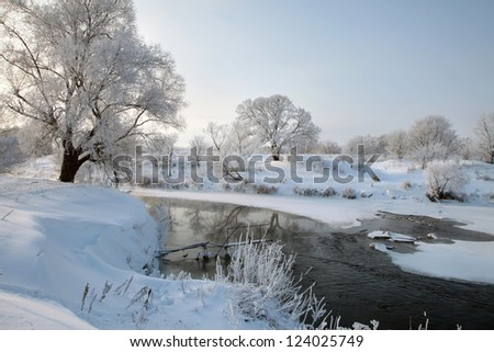 winter's day on the river Zai-ice drift - stock photo