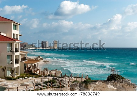 Winter's pretty warm on Cancun's beaches - stock photo