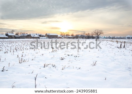 Winter's Tale. Winter landscape with snowy countryside village next to cornfield covered in white snow cover at sunset or sunrise. Rural village home in winter time - stock photo