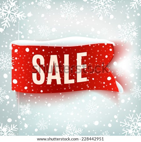 Winter sale background with red realistic ribbon banner and snow. Sale. Winter sale. Christmas sale. New year sale - stock photo