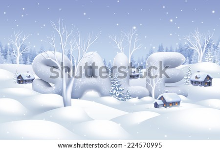 winter sale banner, white nature illustration, holiday background