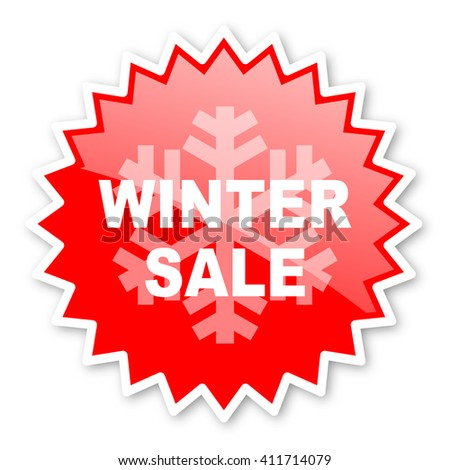 winter sale red tag, sticker, label, star, stamp, banner, advertising, badge, emblem, web icon - stock photo
