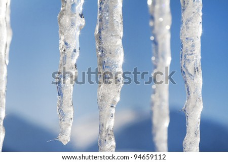 winter scene and landscape with ice and snow - stock photo