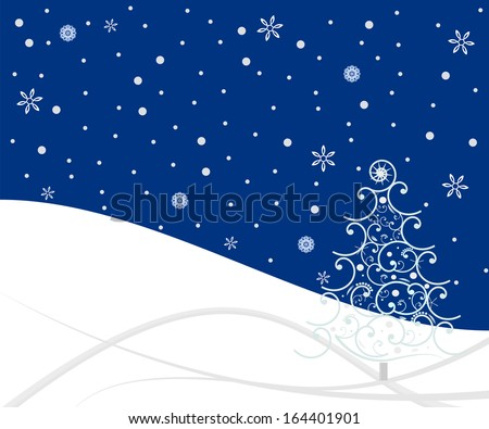 winter scene background with snow and tree - stock photo
