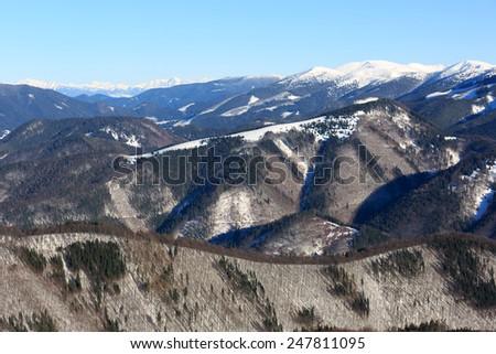 winter scene in Donovaly ski resort, Slovakia - stock photo