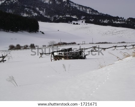 Winter Scene in Montana - stock photo