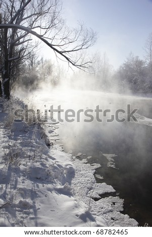 winter scene in the northeast of china - stock photo