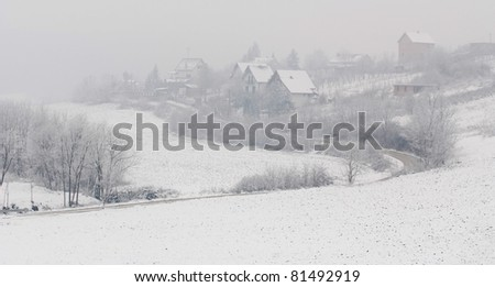 Winter scene in village