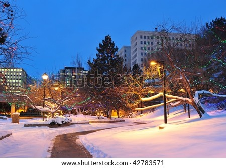 Winter scene of edmonton downtown, alberta, canada - stock photo
