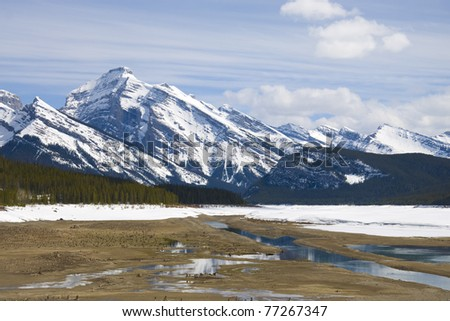 Winter scene of Spray Lakes, located in Kanaskis, Alberta, Canada