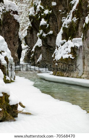 Winter scene of the White creek in  national park Slovak paradise, Slovak republic - stock photo