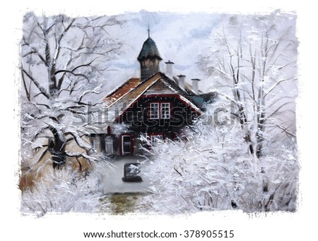 winter scene painting torn edges