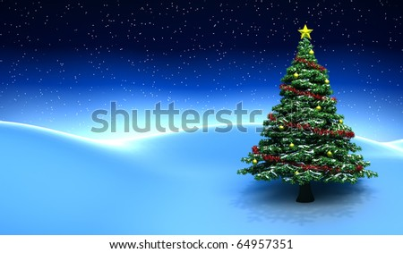 Winter scene with Christmas tree - 3D render - stock photo