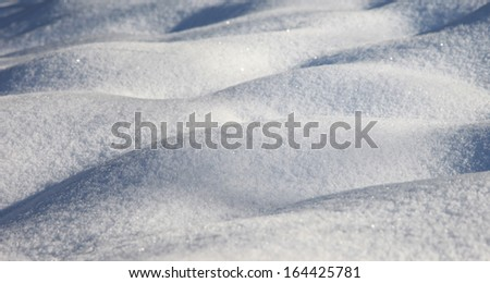 Winter scene with closeup of the snow.