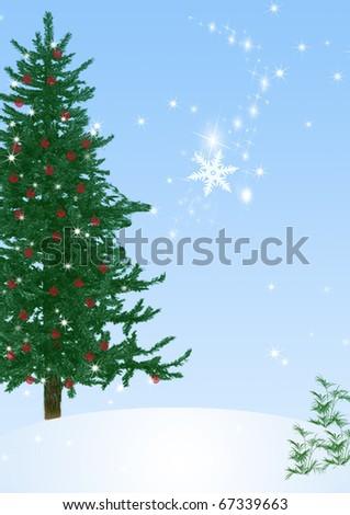 Winter scene with falling snowflake - stock photo