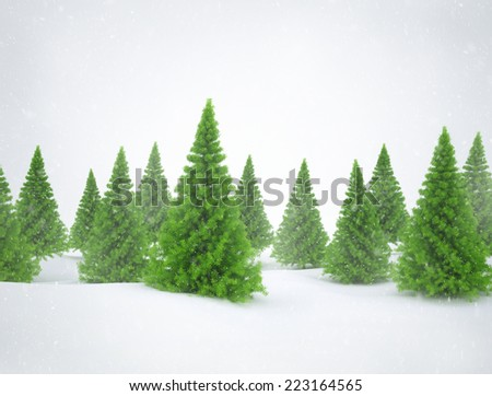Winter scene with green pine trees and snow  - stock photo