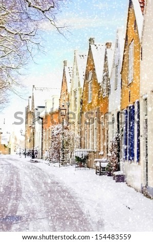 winter scene with heavy snowfall at  a little village in holland, europe - stock photo