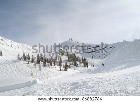 Winter scenery in Wagrain (Austria) in sunny ambiance - stock photo