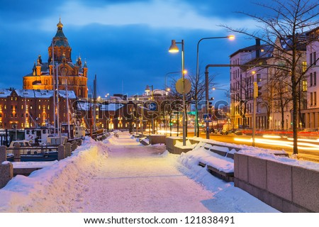 Winter scenery of the Old Town in Helsinki, Finland - stock photo