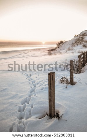 Winter scenery sunset with steps