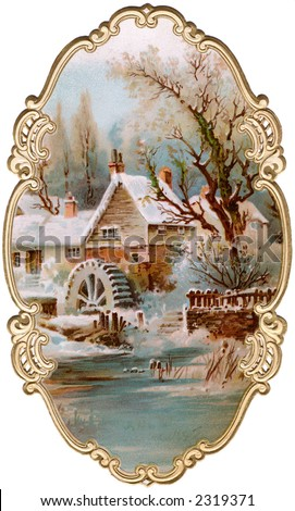 Winter scenic of old mill, with ornate, gilded framing - a circa 1895 vintage illustration - stock photo
