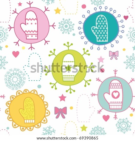 Winter seamless pattern with mittens - stock photo