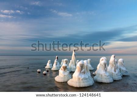 Winter seascape with frozen poles - stock photo