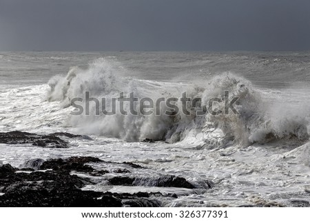 Winter seascape with stormy waves breaking in the northwest portuguese coast