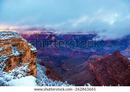 Winter Season in Grand Canyon National Park in Arizona, United States. Scenic Cloudy Grand Canyon Landscape. - stock photo