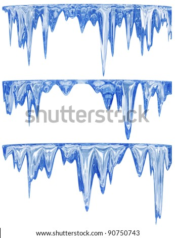 winter set of three blue shade melting icicles - stock photo