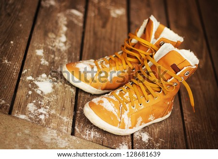 Winter shoes - stock photo