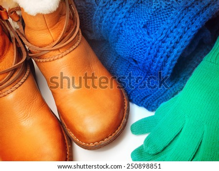 Winter shoes and accessories - stock photo