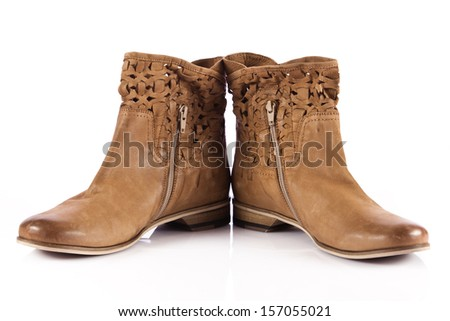 Winter shoes isolated on a white background. female boots