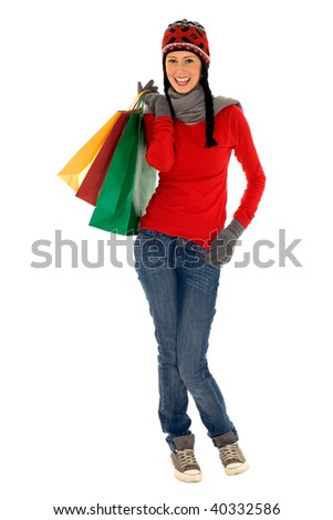 Winter shopping - stock photo