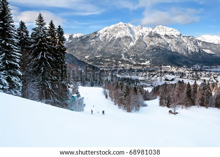 winter ski landscape - stock photo