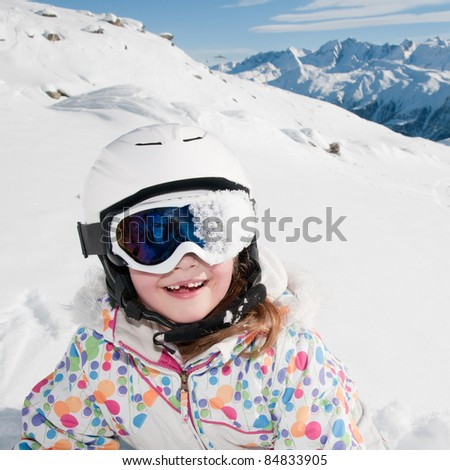 Winter, ski, snow and fun - happy skier portrait - stock photo
