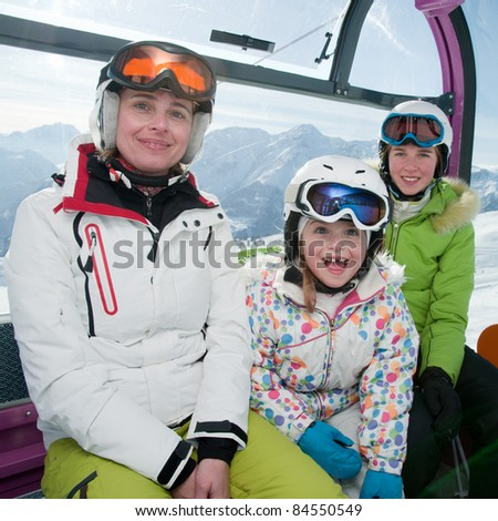 Winter - ski vacation - skiers in cable car