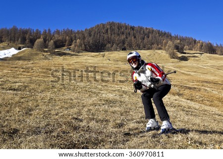 winter skiing and global warming problem - stock photo