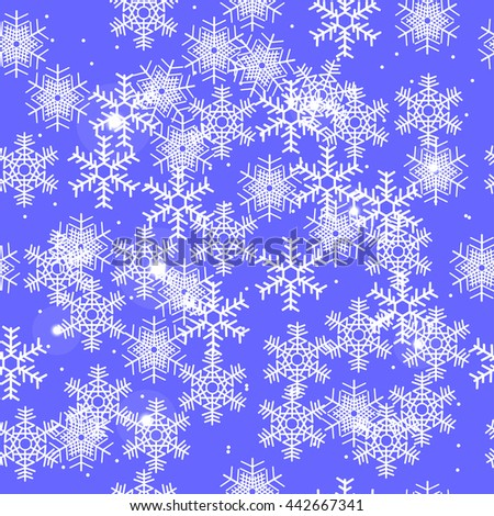 winter sky in the snow flakes, seamless pattern, light blue background - stock photo