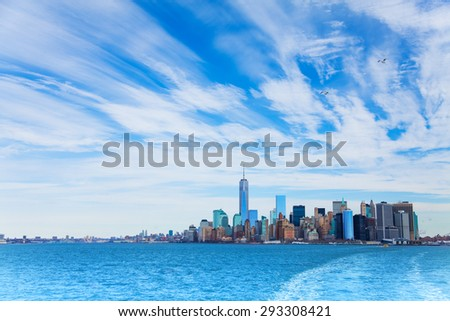 Winter sky over New York skyscrapers skyline panorama  - stock photo