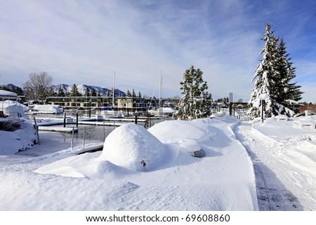 Winter snow and trees near lake Tahoe and marina - stock photo