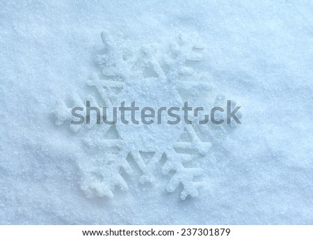 winter snow background card  surface with one snowflake top view - stock photo