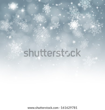 Winter snow background with xmas balls for Christmas and New Year greeting cards - stock photo
