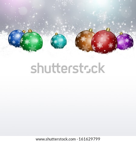 Winter snow background with xmas balls for Christmas and New Year greeting cards