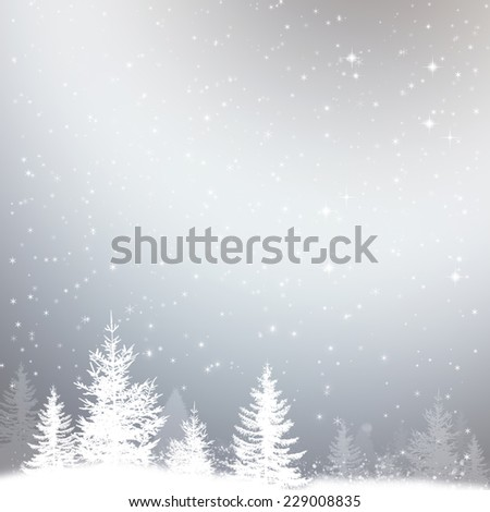 winter snow christmas background with stars and forest