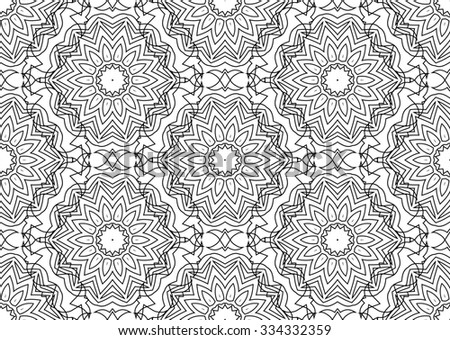 Winter Snow Flakes Doodles. Seamless Background Pattern on Chalkboard Texture. Hand-Drawn Raster version - stock photo