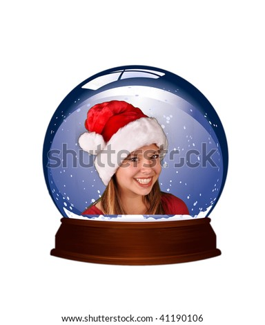 winter snow globe young teen - stock photo